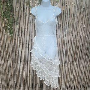Wild honey white lace tiered sheer midi dress M